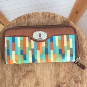 Fossil Key-per wallet! Colorful waxed canvas